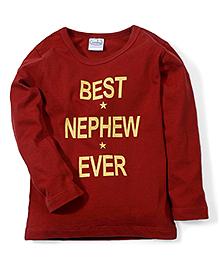 Babyhug Full Sleeves T-Shirt Best Nephew Print - Red