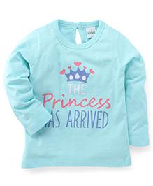 Babyhug Full Sleeves T-Shirt Princess Print - Blue