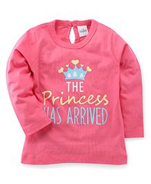 Babyhug Full Sleeves T-Shirt Princess Print - Pink