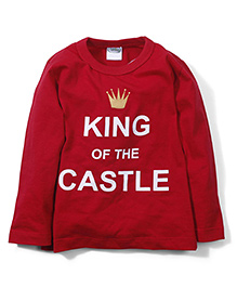 Babyhug Full Sleeves T-Shirt King of The Castle Print - Red