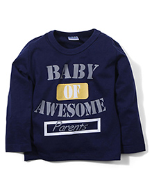 Babyhug Full Sleeves Printed T-Shirt - Navy