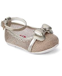 Cute Walk by Babyhug Party Wear Belly Shoes Bow Design - Beige
