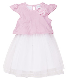 Babyhug Cap Sleeves Frock With Floral Applique - Pink White