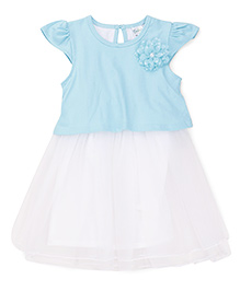 Babyhug Cap Sleeves Frock With Floral Applique - Blue White