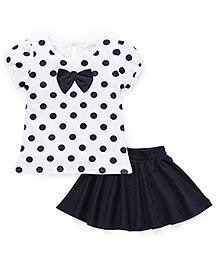 Babyhug Skirt And Top Set Polka Dot Print - White And Navy