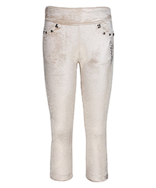 Cutecumber Fitted Party Wear Leggings Rhinestones Embellished - White