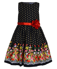 Toy Balloon Dot And Floral Printed Frock - Black
