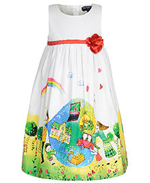 Toy Balloon Sleeveless Multi Printed Party Dress - Multi Color
