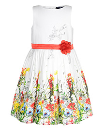 Toy Balloon Kids Floral Border Printed Party Dress - Multi Color