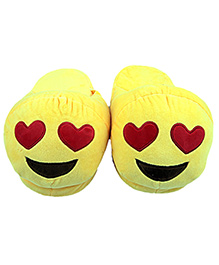 The Crazy Me Emoji Heart Eyes Slippers - Yellow