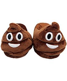 The Crazy Me Emoji Poo Slippers - Brown