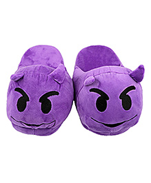 The Crazy Me Emoji Devil Slippers - Purple