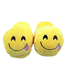 The Crazy Me Emoji Tounge Right Slippers - Yellow