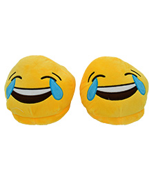 The Crazy Me Emoji Laughing Cool Slippers - Yellow