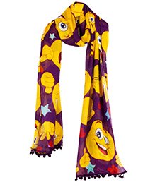 The Crazy Me Flaunt the Emoticons Purple Scarf - Muticolour