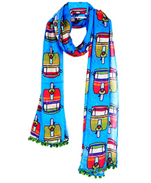 The Crazy Me Auto Travel Scarf - Blue & Red