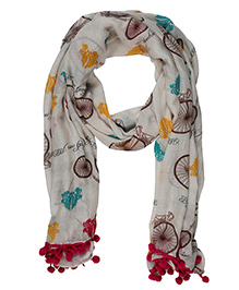 The Crazy Me Vintage Cycles Scarf - Grey & Multicolour