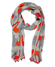 The Crazy Me Elephant Scarf - Greyish Green & Orange