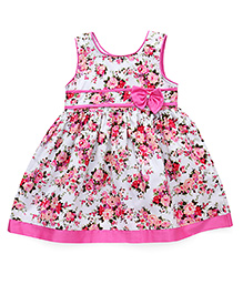 Babyhug Sleeveless Floral Printed Frock With Bow Applique - Pink