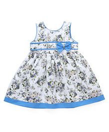 Babyhug Sleeveless Floral Printed Frock With Bow Applique - Blue