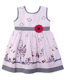Babyhug Sleeveless Frock Bunny Print & Flower Embroidery - Light Pink