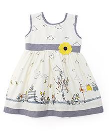 Babyhug Sleeveless Frock Bunny Print & Flower Embroidery - Yellow