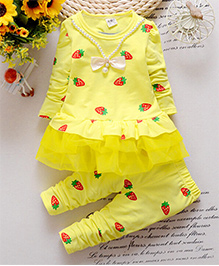 Pre Order : Dells World A Set Of Strawerry Print Frill Top With Legging - Yellow