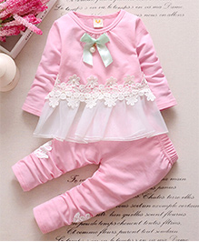 Pre Order : Dells World A Set Of Lace Of Attatched Frill Top With Legging - Light Pink