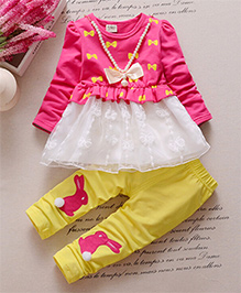Pre Order : Dells World A Set Of Bow Print Frock Top With Rabbit Print Legging - Multicolour
