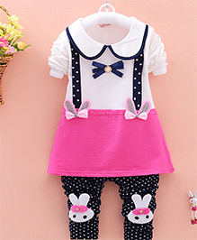 Dells World A Set Of Adorable Collared Full Sleeves Frock Top And Legging - Multicolour
