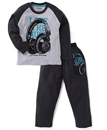 Doreme Raglan Sleeves T-Shirt And Bottoms Love The Music Print - Dark Grey