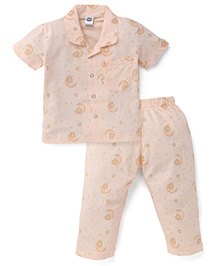 Teddy Half Sleeves Night Suit Moon and Teddy Print - Peach