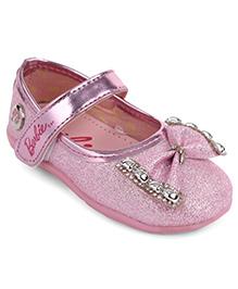 Barbie Party Wear Ballerinas Bow Applique - Pink