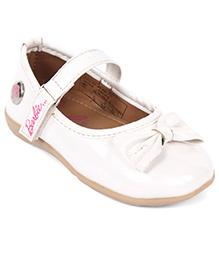 Barbie Party Wear Ballerinas Bow Applique - White
