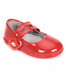 Dora Mary Jane Ballerina Shoes With Floral Applique - Red