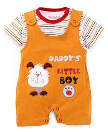 Wonderchild 2 Piece Daddy's Little Boy Romper & Tee - Orange