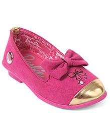 Barbie Party Wear Ballerinas Bow Applique - Fuschia