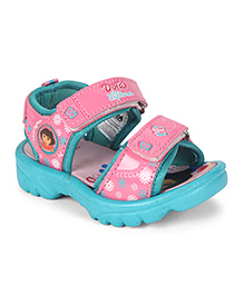 Dora Dual Velcro Sandals - Sea Green & Pink