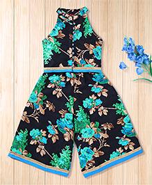 Twisha Stylish Floral Top & Palazzo - Black