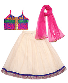 Twisha Brocade Blouse & Checks Jacquard Lehenga - Off White
