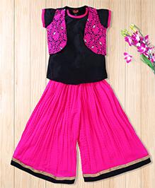 Twisha Short Kurti With Embroidered Jacket And Georgette Palazzo - Hot Pink