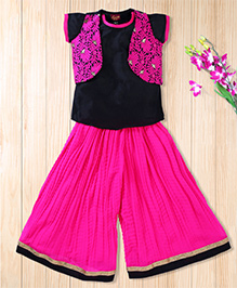 Twisha Short Kurti With Embroidered Jacket And Georgette Palazzo - Hot Pink