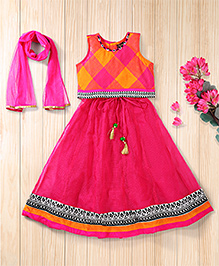 Twisha Checks Blouse Lehenga With Beautiful Latkan - Hot Pink