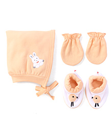 Child World Cap Mittens And Booties Set Rabbit Design - Peach
