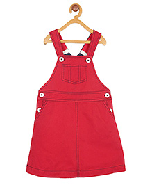 My Lil' Berry Solid Color Twill Dungaree Skirt- Red