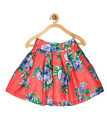 My Lil'Berry Bright Floral Dupion Silk Red Printed Box Pleated Skirt 6-7Y Silk Dupion