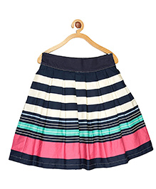 My Lil Berry Striped Box Pleated Skirt - Multi Color