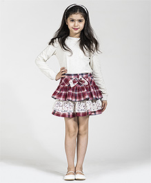 My Lil Berry Checks And Lace Frill Tiered Skirt - Maroon