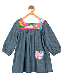 My Lil' Berry Full Sleeves Frock Floral Print - Blue