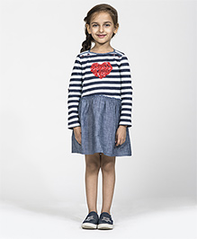 My Lil Berry Full Sleeves Stripe Frock - White Navy